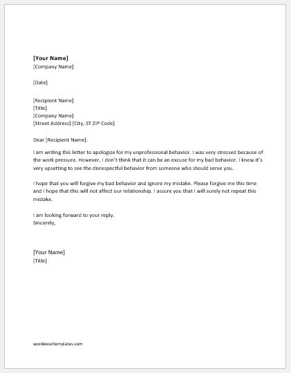 Apology Letter for Unprofessional Behavior Word  Excel Templates