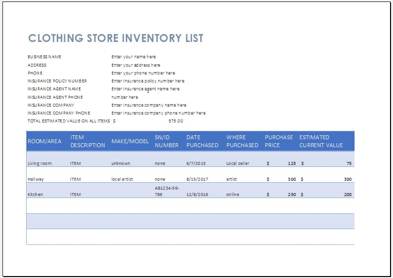 Clothing Store Inventory List Template Word \ Excel Templates - list template