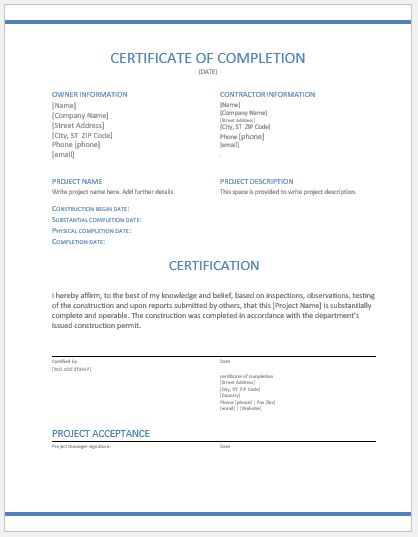work completion certificate format in word - Romeolandinez - certificate for project completion