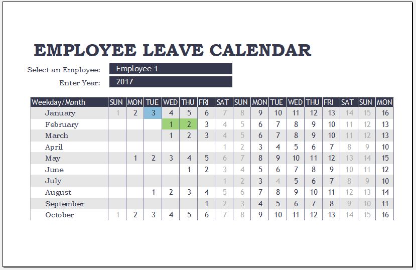 Employee Leave Calendar Templates for MS Excel Word  Excel Templates - Leave Templates