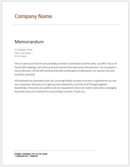 Internal Memo Templates for MS Word Word  Excel Templates - Internal Memo Templates