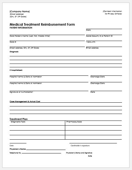 Expense Reimbursement Form Templates for Excel Word  Excel Templates