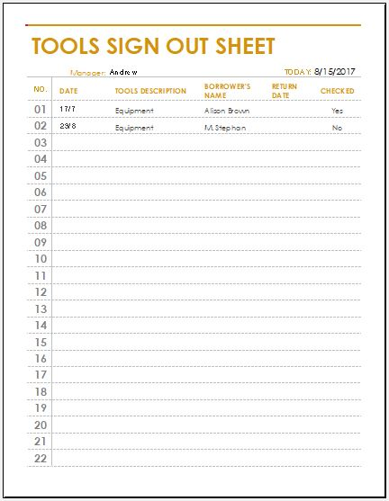 Attendance Sign Out Sheet Template  Bees Interactive Attendance for