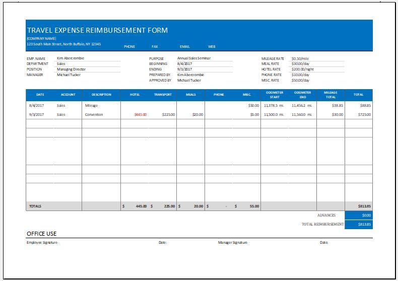 Expense Reimbursement Form Templates for Excel Word \ Excel - expense reimbursement form