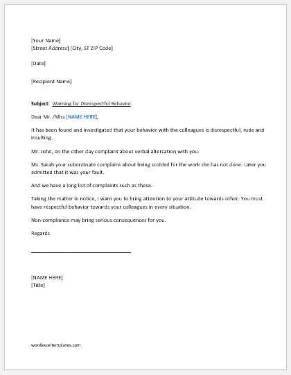 Warning Letter for Unacceptable Behavior at Work Word  Excel