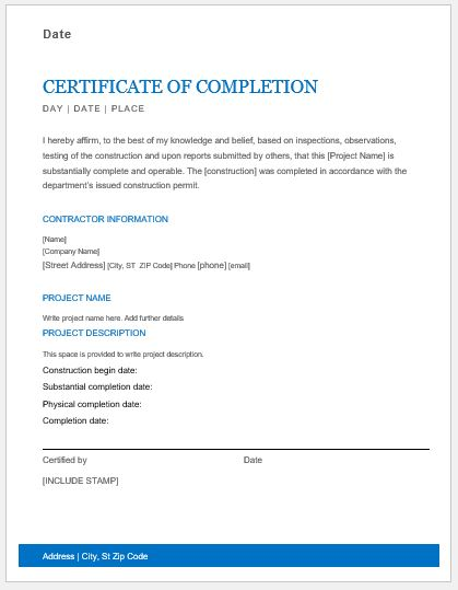 Construction Work Completion Certificates for MS Word Word  Excel