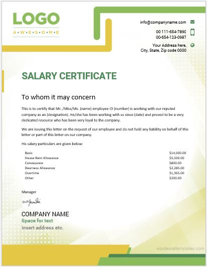 10 Best Salary Certificate Templates for MS Word Word  Excel