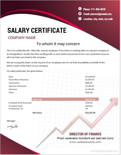 10 best salary certificate templates for ms word