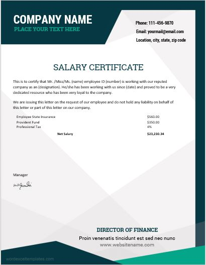 10 Best Salary Certificate Templates for MS Word Word  Excel - salary certificate template