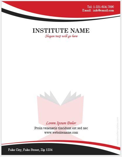 6 Best Educational Institute Letterhead Templates MS Word Word