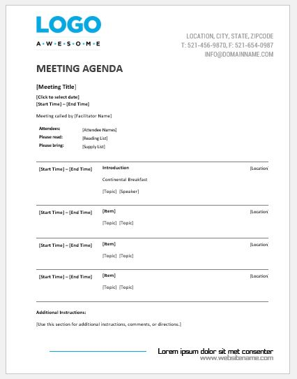 Meeting Agenda Templates MS Word Word  Excel Templates - meeting outline template