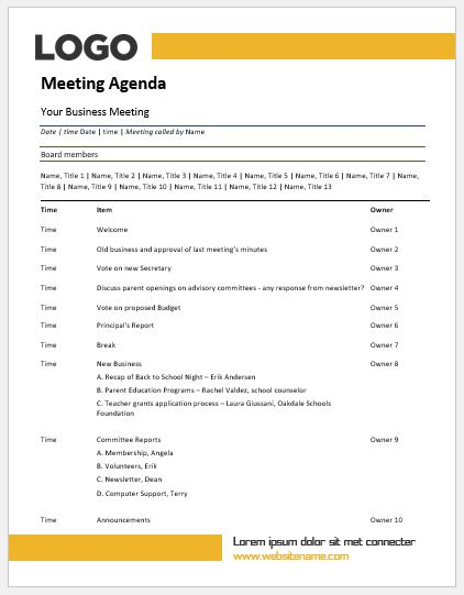 Meeting Agenda Templates MS Word Word  Excel Templates