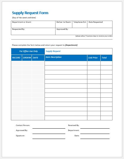 Supply Request Form Templates MS Word Word  Excel Templates