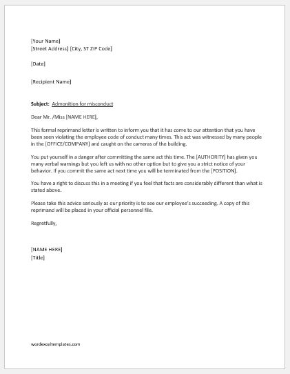 Reprimand Letter Writing Guide with Sample Template Word  Excel