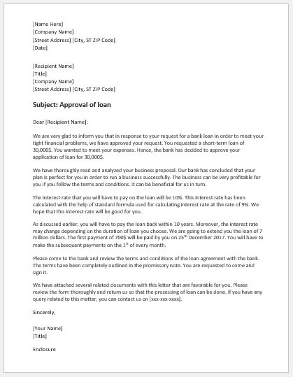 Bank Loan Approval Letter Template Word  Excel Templates