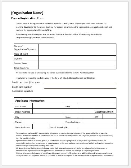 Dance Registration Forms for MS Word Word  Excel Templates