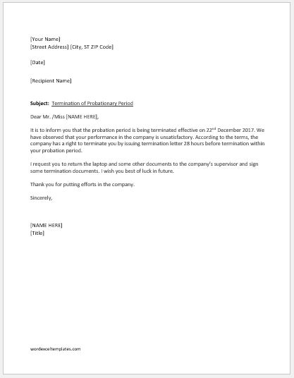 Employment Termination Letter within Probation Period Word  Excel - company termination letter