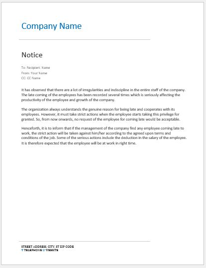Notice to Late Coming Employees SAMPLE Word  Excel Templates