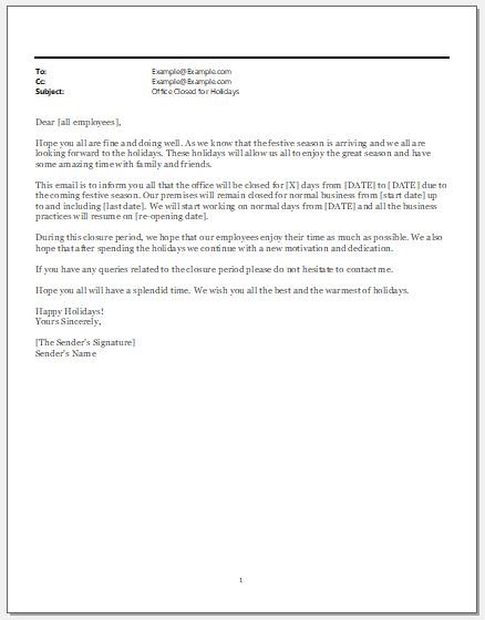 Office Closed for Holidays Email Template Word  Excel Templates - holiday closure sign template