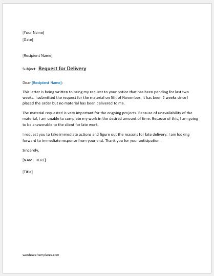 Request Letter for Delivery of Material Word  Excel Templates