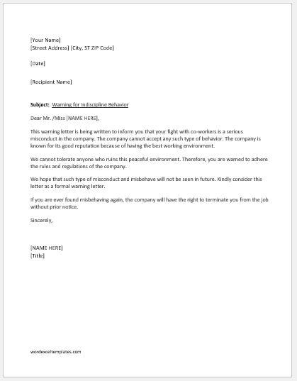 Warning Letter for Indiscipline Behavior Word  Excel Templates