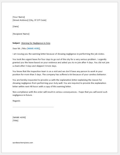 Warning Letter for Negligence in Duty Word  Excel Templates