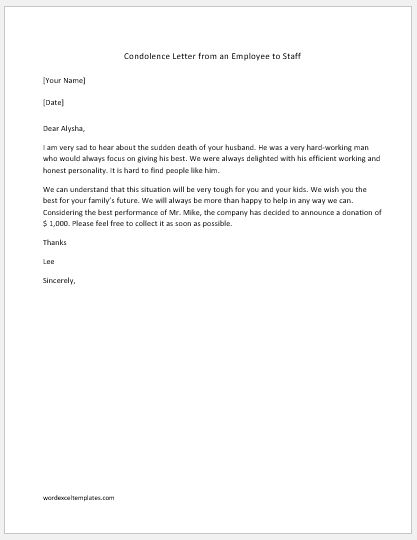 10+ Condolence Letter Samples Printable Word  PDF Formats - formal letter of condolence