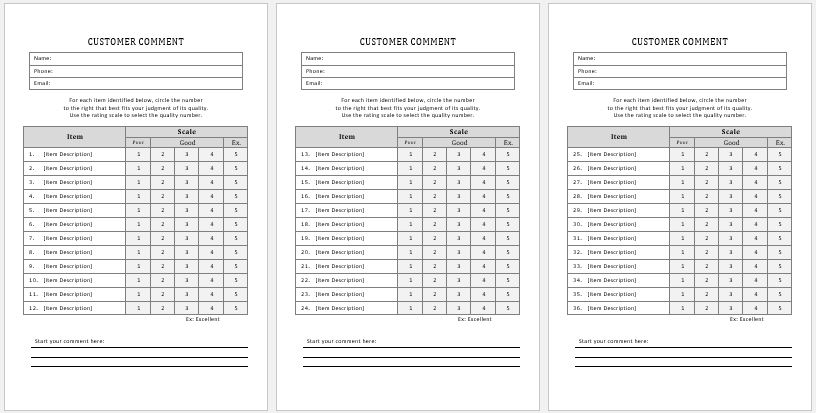 Customer Comment Cards Templates MS Word Word  Excel Templates