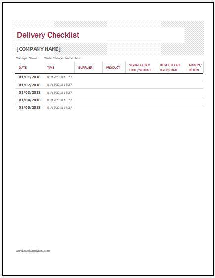 delivery checklist template - Pinarkubkireklamowe