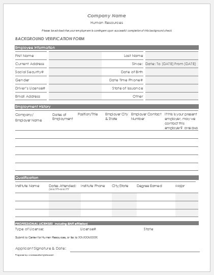 Employee Background Verification Form Word  Excel Templates