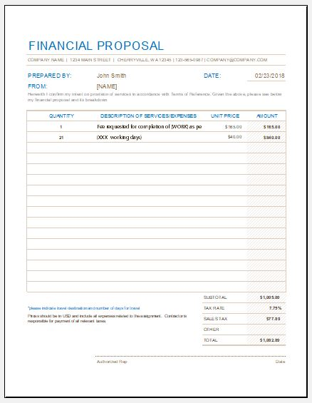 Financial Proposal Form Templates for Excel Word  Excel Templates