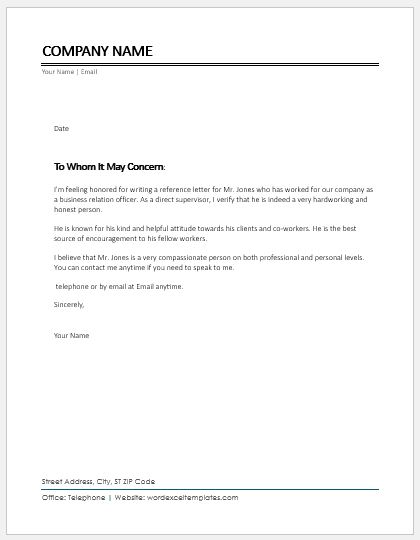 Character Reference Letter for Coworker Word  Excel Templates - It Reference Letters