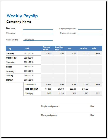 Weekly, Biweekly  Monthly Payslip Templates Word  Excel Templates - payslip templates