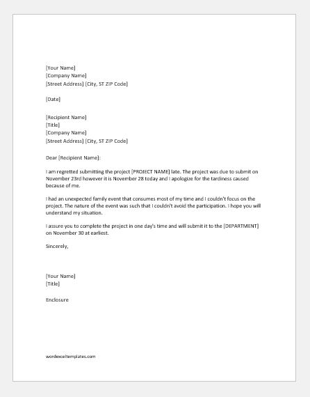 Apology Letter for Late Submission of Project Word  Excel Templates
