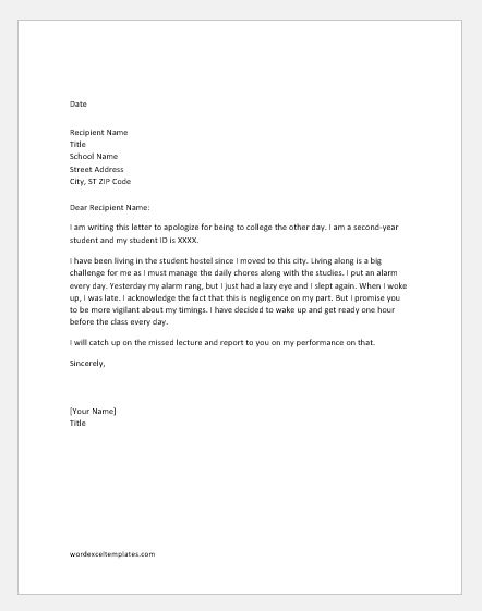 Apology Letters for being Late to Various Situations Word  Excel
