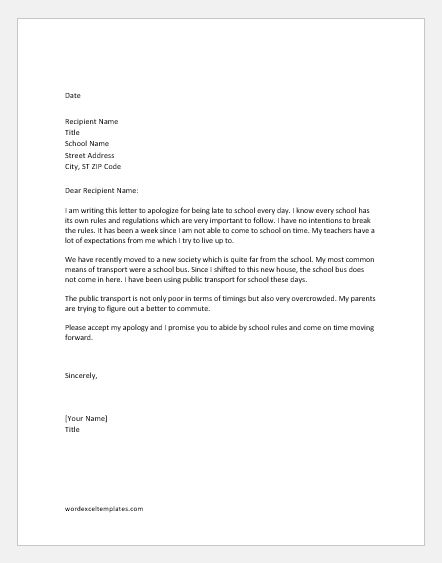 apology letter for being late - Alannoscrapleftbehind - apology letter to school