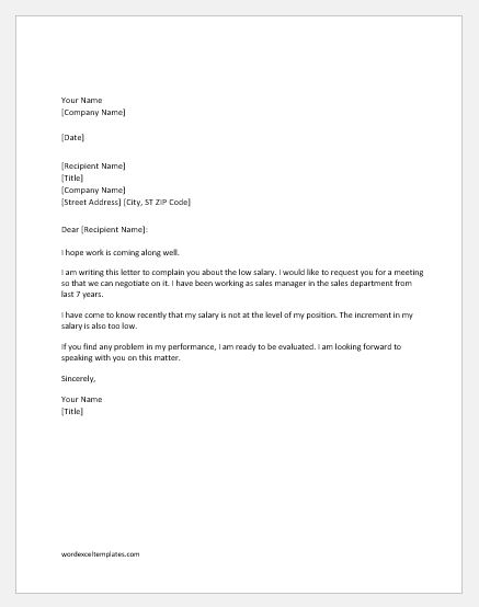 Low Salary Complaint Letter to Boss Word  Excel Templates