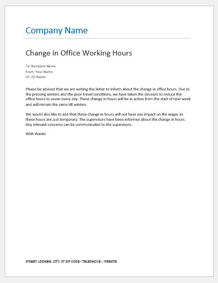 Office Hours Change Notification to Employees Word  Excel Templates
