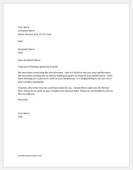 Warning Letter to Employee for Repeated Mistakes Word  Excel