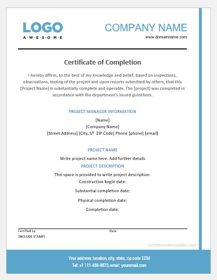 Project Completion Certificate Templates Word  Excel Templates
