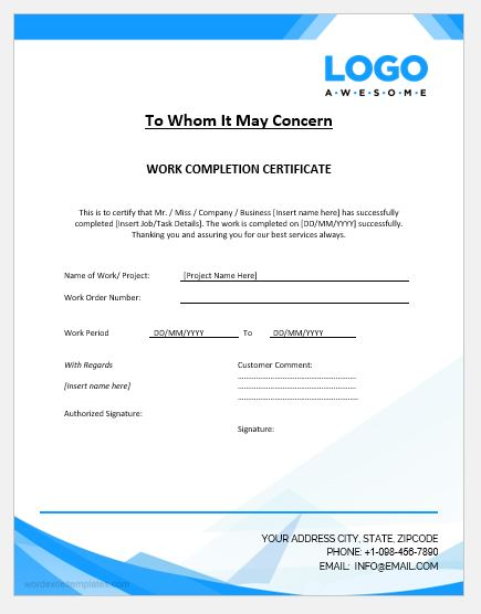 Project Completion Certificate Templates Word  Excel Templates - certificate for project completion