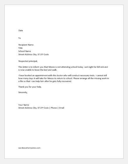 Absent Letter to School because of Sick Word  Excel Templates
