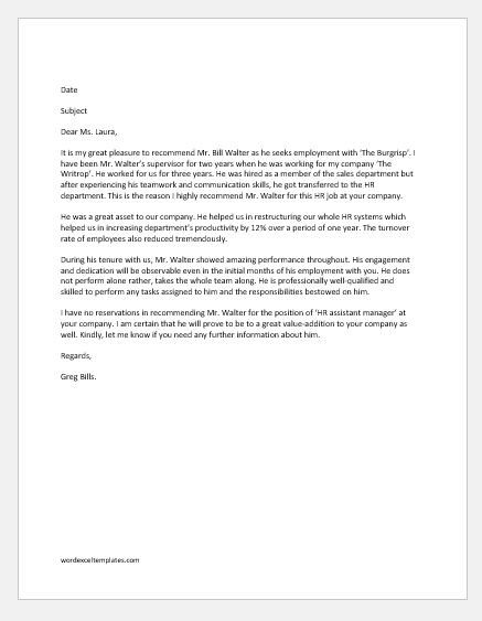 Employee Recommendation Letter Samples Word  Excel Templates