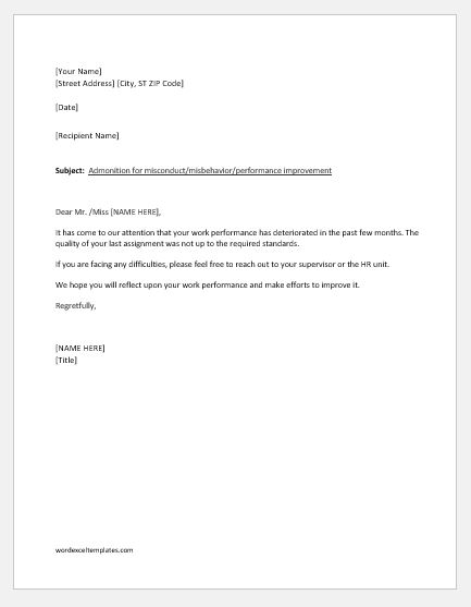 Letter of Reprimand for Employee Performance Word  Excel Templates