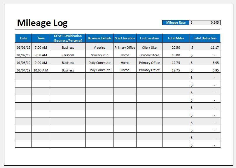 excel mileage spreadsheet