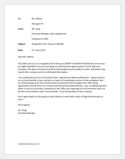 Resignation Letter Due to Unhappy with Management Word  Excel