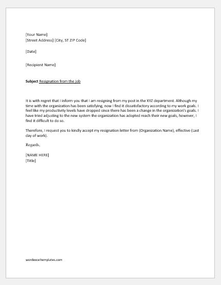 Resignation Letter due to Unsatisfactory work Circumstances Word