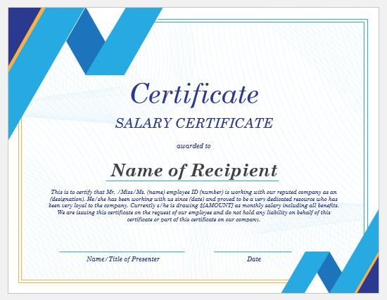 20+ Salary Certificate Templates for MS Word Word  Excel Templates
