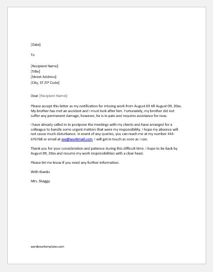 10 Excuse Letters for Missing Work for Every Situation Word