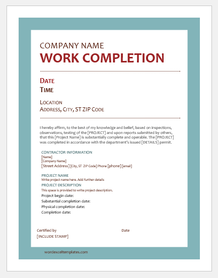 9 best work completion certificates for ms word